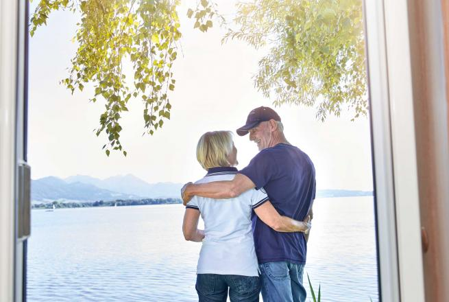 couple at a lake