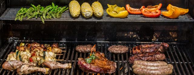 grill full of food